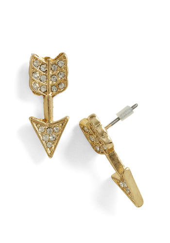 Which Direction Earrings - Gold, Rhinestones