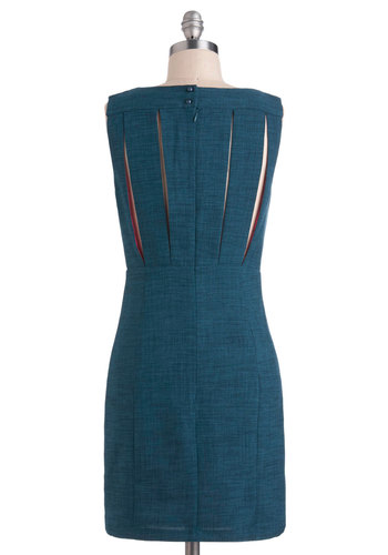 Time Well Vent Dress - Blue, Solid, Work, Sheath / Shift, Sleeveless, Mid-length, Cutout, Pockets