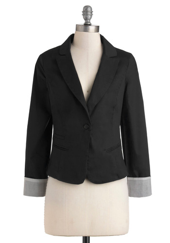 Calming Workspace Blazer in Black - Cotton, Short, Black, Solid, Work, Long Sleeve, 1