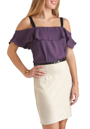 Plum-believably Stylish Dress - Tan / Cream, Belted, Mid-length, Twofer, Purple, Ruffles, Party, Vintage Inspired