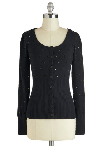 Stars in Your Eyes Cardigan - Black, Solid, Buttons, Studs, Casual, Long Sleeve, Mid-length, Work