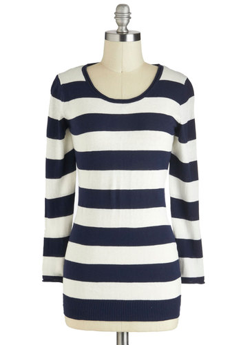 Santa Catalina Sweater - Cotton, Blue, White, Stripes, Casual, Long Sleeve, Mid-length, Nautical, Travel