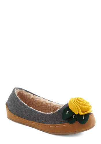 Lady of the Flower Slipper - Grey, Flower, Flat, Rustic, Winter, Yellow, Green, Holiday Sale