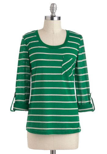 Day of Leisure Top - Green, Tan / Cream, Stripes, Casual, Jersey, Mid-length, 3/4 Sleeve
