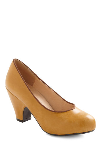 Come On Ochre Heel by Chelsea Crew - Yellow, Brown, Mid, Leather, Work