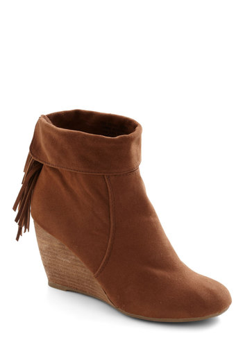 Flounce Back Wedge - Mid, Tan, Solid, Fringed, Boho, Wedge, Rustic, Tis the Season Sale