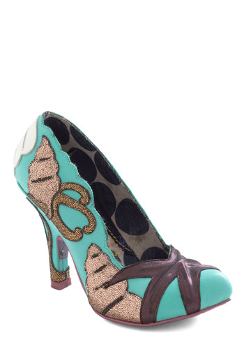 Seagoing My Way? Heel by Irregular Choice - Leather, Multi, Novelty Print, Statement, Quirky, Scallops, Nautical, International Designer