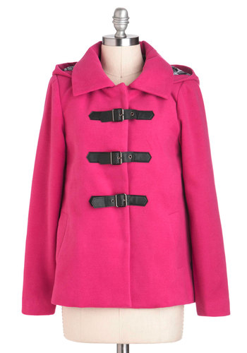 Pink Performance Coat - Mid-length, 3, Pink, Buckles, Hoodie, Long Sleeve, Solid, Winter