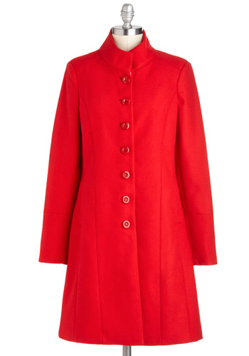 Made to Ardor Coat by Pink Martini - Red, Solid, Buttons, Vintage Inspired, Long Sleeve, 3, Pockets, Winter, Long