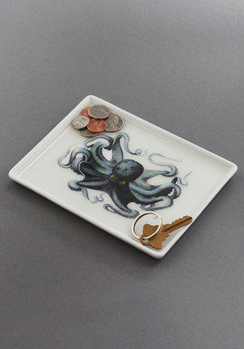 Thalassic Park Tray in Octopus - Multi, Blue, Nautical, Dorm Decor, Quirky