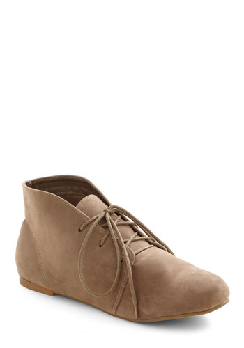 Desert First Bootie - Tan, Solid, Flat, Lace Up, Rustic