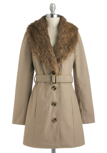 Taupe of the Morning Coat - Tan, Brown, Buttons, Belted, Long Sleeve, Long, 3, Winter