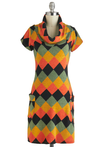 To Diamond For Dress - Multi, Orange, Yellow, Green, Black, Print, Pockets, Casual, Sweater Dress, Short Sleeves, Fall, Mid-length, 70s