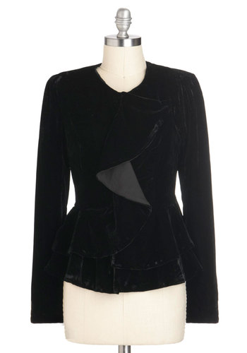 Voice of Velvet Jacket - Mid-length, 1, Black, Solid, Ruffles, French / Victorian, Peplum, Long Sleeve, Holiday Party