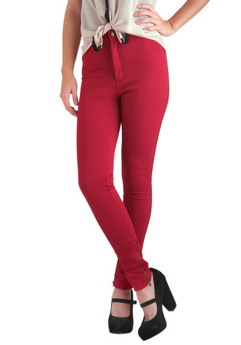 Ruby Zipper Pants - Red, Solid, Casual, Skinny, Pockets, Urban