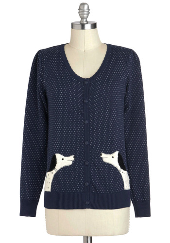 Dalmatian Salutation Cardigan - Blue, Black, White, Polka Dots, Buttons, Casual, Quirky, Long Sleeve, Print with Animals