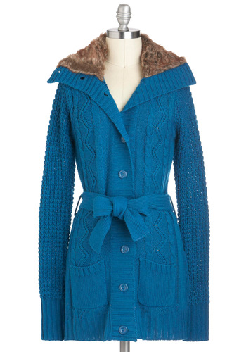 Queen and Kingfisher Cardigan - Blue, Brown, Buttons, Knitted, Casual, Long Sleeve, Solid, Belted