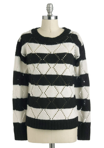 Montreal for One Sweater - Mid-length, Black, White, Stripes, Knitted, Casual, Long Sleeve, Winter, Crew