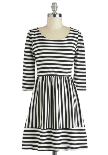 True Lines Dress - Black, Stripes, A-line, 3/4 Sleeve, Short, White, Casual