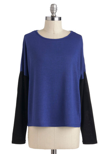 Cool in Cobalt Top - Mid-length, Blue, Black, Solid, Casual, Long Sleeve, Urban, Minimal
