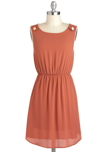 Pie Party Dress - A-line, Sleeveless, Short, Orange, Solid, Casual, Epaulets