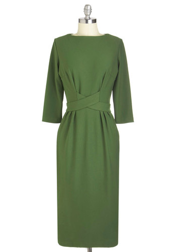 Hail a Cabinet Dress by Bettie Page - Green, Solid, Buttons, Party, Work, Vintage Inspired, 50s, Luxe, 3/4 Sleeve, Fall, Long
