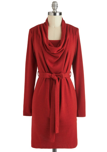 Chili Power Dress - Short, Red, Solid, Belted, Casual, Sweater Dress, Long Sleeve, Fall, Cowl, Work, Vintage Inspired, Minimal, Winter