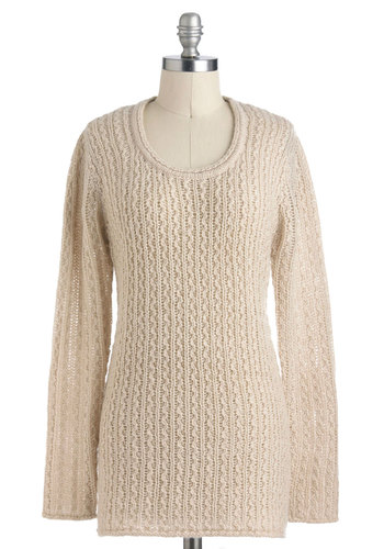 Everything's in Sync Sweater - Mid-length, Cream, Solid, Knitted, Casual, Long Sleeve