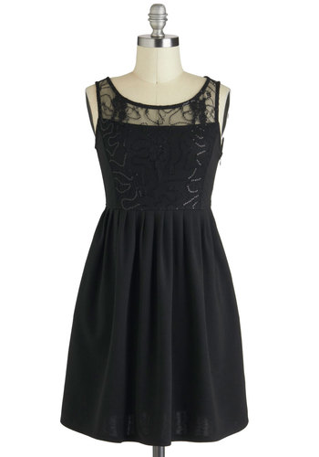 Repeat the Sequins Dress - Sheer, Short, Black, Solid, Sequins, A-line, Sleeveless, Pockets, Holiday Party, Formal