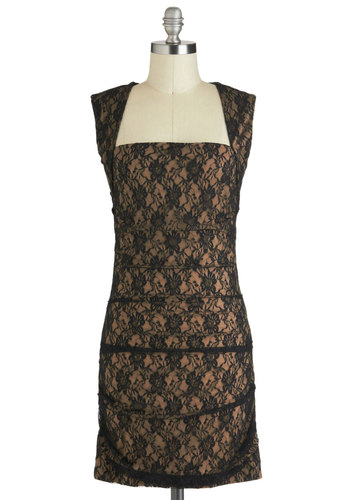 Overlay of the Land Dress in Black - Mid-length, Tan / Cream, Black, Lace, Cocktail, Shift, Sleeveless, Party, Film Noir, Tis the Season Sale