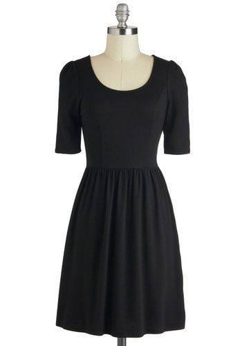 Pick of the Licorice Dress - Black, Solid, A-line, 3/4 Sleeve, Mid-length, Casual, Fall, Variation, Scoop