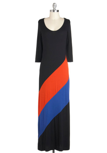 Slant Rhyme and Reason Dress - Long, Jersey, Black, Orange, Blue, Casual, Colorblocking, Maxi, Long Sleeve