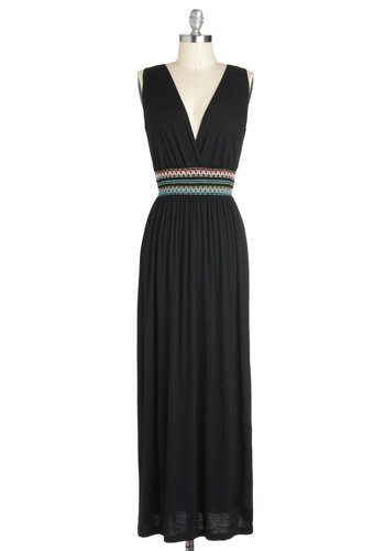 Recording Session Dress - Long, Jersey, Black, Embroidery, Casual, Maxi, Sleeveless, V Neck, Solid, Boho, Beach/Resort