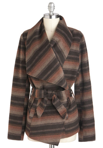 The Sunrise's Embrace Jacket by Jack by BB Dakota - 2, Brown, Grey, Stripes, Casual, Long Sleeve, Pockets, Belted, Fall, Mid-length, Rustic