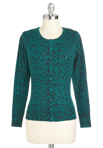 Leopard of Faith Cardigan - Short, Green, Black, Animal Print, Buttons, Casual, Vintage Inspired, 80s, Long Sleeve