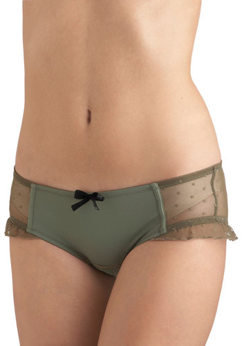 Olive in Comfort Undies - Green, Tan / Cream, Solid, Polka Dots, Bows, Ruffles, Sheer