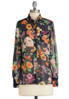 Prettier Than the Garnish Top - Sheer, Mid-length, Multi, Floral, Buttons, Vintage Inspired, Long Sleeve, Collared, Exclusives, Work, Multi, Long Sleeve
