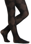 Queen of the Argyle Tights - Black, Argyle, Sheer, Work, Scholastic/Collegiate