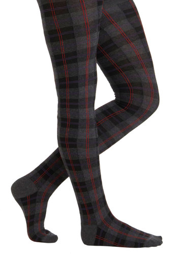 Business Major Tights - Grey, Red, Plaid, Work, Scholastic/Collegiate