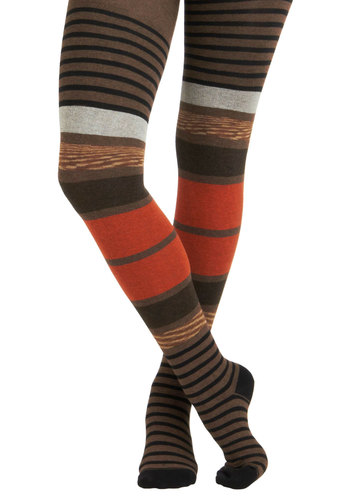 Up and Strata Tights - Orange, Grey, Stripes, Sheer, Multi, Brown, Black, Fall