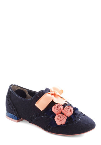 Craft Fair Artisan Flat by Irregular Choice - Short, Blue, Bows, Flower, Fairytale, Flat, Pink