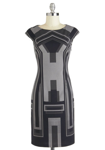 Fine Architecture Dress - Mid-length, Black, Grey, Print, Work, Shift, Cap Sleeves, Urban