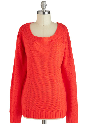 Coral or Nothing Sweater - Red, Solid, Knitted, Long Sleeve, Mid-length, Winter
