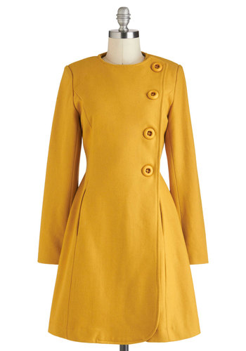 Best and Brightest Coat by Pink Martini - Long, 3, Yellow, Solid, Buttons, Pockets, Vintage Inspired, A-line, Long Sleeve, Winter, 60s
