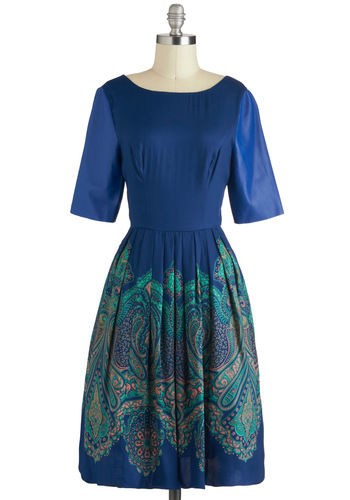 Tracy Reese Cobalt of Genius Dress by Tracy Reese - Leather, Long, Blue, Green, Paisley, Exposed zipper, Pockets, Party, A-line, Short Sleeves