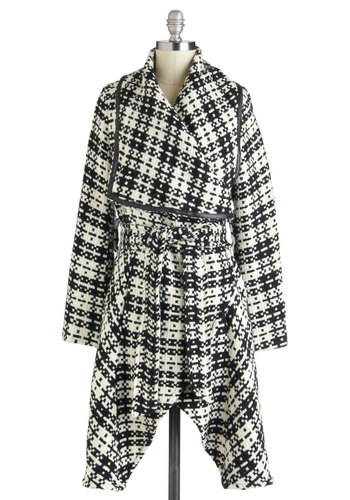 Dandy as Andie Coat by Pink Martini - 3, Black, White, Long Sleeve, Plaid, Trim, Belted, Winter, Long