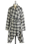 Dandy as Andie Coat by Pink Martini - Long, 3, Black, White, Long Sleeve, Plaid, Trim, Belted, Winter