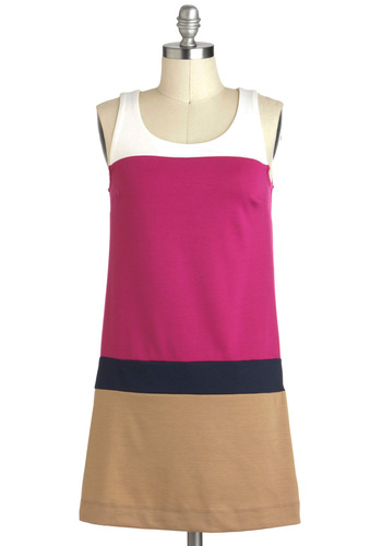 Colorblock On By Dress - Multi, Casual, Tent / Trapeze, Tank top (2 thick straps), Short, Pink, Tan / Cream, Vintage Inspired, 60s, Mod, Black, Colorblocking