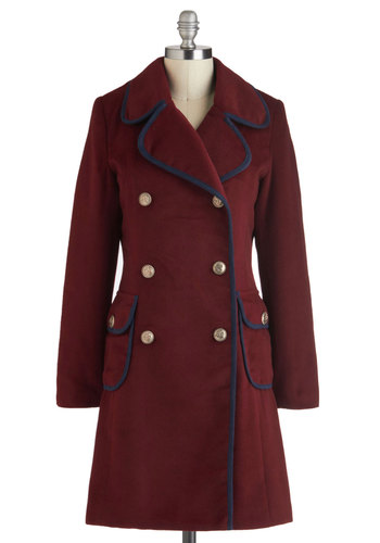 At Your Malbec and Call Coat by Pink Martini - Long, 4, Red, Blue, Solid, Buttons, Pockets, Double Breasted, Long Sleeve, Fall, Winter, Military