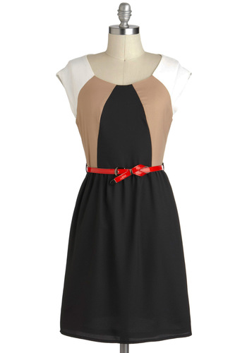Halfway to 'Frisco Dress - Black, Tan / Cream, Belted, A-line, Mid-length, White, Casual, Colorblocking, Cap Sleeves